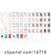 Clipart Illustration Of A Full Set Of Playing Cards With Details Of The Back Sides