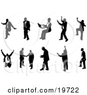 Clipart Illustration Of A Collection Of Poses Of Silhouetted Business People by AtStockIllustration
