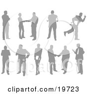 Clipart Illustration Of A Collection Of Business People Silhouetted In Different Poses