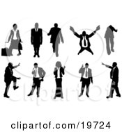 Clipart Illustration Of A Collection Of Businesspeople In Silhouette In Different Poses by AtStockIllustration