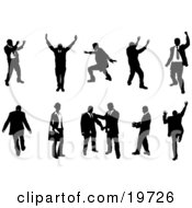 Clipart Illustration Of A Silhouetted Collection Of Businesspeople Doing Different Poses