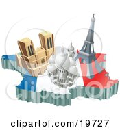 Clipart Illustration Of French Tourist Attractions The Basilica Of The Sacred Heart Eiffel Tower And The Notre Dame De Paris Cathedral Over A Map And The French Flag by AtStockIllustration