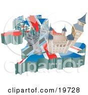 Clipart Illustration Of Tourist Attractions In The United Kingdom The London Bridge Tower Of London And Big Ben Over A Map With The Union Jack by AtStockIllustration