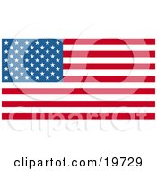 Clipart Illustration Of White Stars Over Blue And Horizontal Red And White Stripes On The American Flag by AtStockIllustration