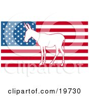Clipart Illustration Of A White Silhouette Of A Democratic Donkey In The Center Of The American Flag by AtStockIllustration