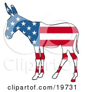 Clipart Illustration Of A Democratic Donkey Silhouette With Stars And Stripes Of The American Flag