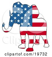 Clipart Illustration Of A Republican Elephant Silhouette With Stars And Stripes Of The American Flag