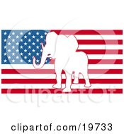 Clipart Illustration Of A White Silhouette Of A Republican Elephant In The Center Of The American Flag