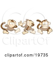 Clipart Illustration Of The Three Wise Monkeys, Mizaru, Kikazaru, And Iwazaru, Covering Their Ears, Eyes And Mouth, Hear No Evil, See No Evil, Speak No Evil by Geo Images