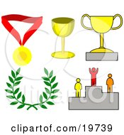 Clipart Illustration Of A Collection Of Images Symbolizing Success Medal Trophy Cups Laurel And Winner On A Podium