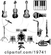 Clipart Illustration Of A Collection Of Musical Instruments And Items Including An Electric Guitar Violin Acoustic Guitar Piano Or Keyboard Microphone Saxophone Clarinet Drum Set And Trumpet by AtStockIllustration