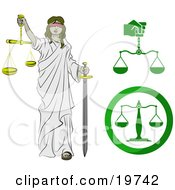 Clipart Illustration Of Lady Justice Blindfolded Carrying A Sword And Scales by AtStockIllustration