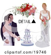 Clipart Illustration Of A Happy Bride And Groom Cutting Their Wedding Cake With A Detail Of A Bouquet And The Brides Dress