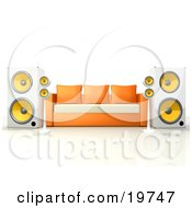 Clipart Graphic Of An Orange And White Living Room Sofa With Surround Sound Speakers