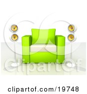 Green And White Chair With Two Surround Sound Speakers