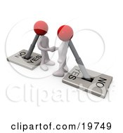Clipart Graphic Of Two White Switch Head Men Turned On To YES Shaking Hands On A Deal