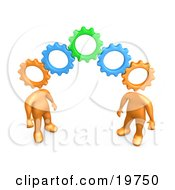 Two Orange People With Cog Heads Standing On The Ends Of Working Gears Symbolizing Teamwork And Brainstorming