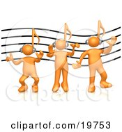 Poster, Art Print Of Group Of Three Orange People With Music Note Heads Listening To Headphones Over A Music Staff