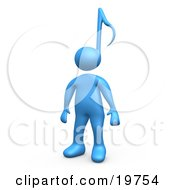 Clipart Graphic Of A Blue Person With A Music Note Head