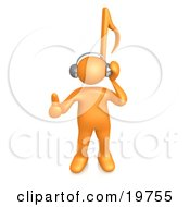 Clipart Graphic Of An Orange Person With A Music Note Head