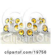 Group Of White And Yellow Surround Sound Speakers
