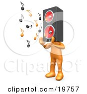 Clipart Graphic Of An Orange Person With A Speaker Head Playing Loud Music