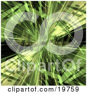 Background Of Green Crystalized Shapes Of Light Over Black