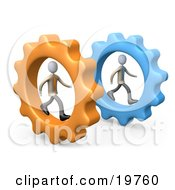 Clipart Graphic Of Two Businessmen In Cogs Racing Eachother Symbolizing Competition by 3poD