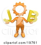Orange Cog Headed Person Holding Text Reading Job by 3poD