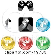 Clipart Illustration Of A Collection Of Different Colored Video Game Controller Icon Buttons