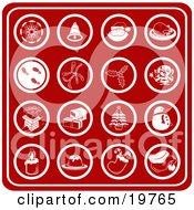 Clipart Illustration Of A Collection Of Red Christmas Icons Including A Snowflake Bell Santa Turkey Dinner Footprints In Snow Holly Mistletoe Elf Chimney Presents Christmas Tree Snowman Candle Dessert Stocking And Santa Hat by AtStockIllustration