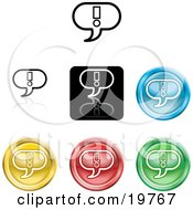 Clipart Illustration Of A Collection Of Different Colored Exclamation Icon Buttons