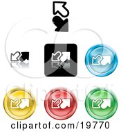 Clipart Illustration Of A Collection Of Different Colored Upload And Download Icon Buttons