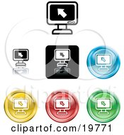 Clipart Illustration Of A Collection Of Different Colored Computer Screen Icon Buttons by AtStockIllustration