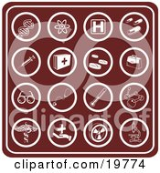Clipart Illustration Of A Collection Of Red Medical Icons Including Dna Molecules Hospital Signs Pills Syringes First Aid Kids Rx Doctor Bag Glasses Stethoscopes Thermometers And Microscopes by AtStockIllustration