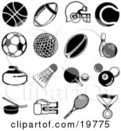 Clipart Illustration Of A Collection Of Black Athletic Icons Over A White Background Including A Basketball Football Helmet Tennis Ball Soccer Ball Golf Ball Rugby Ball Bowling Ball Shuttlecock Ping Pong Paddle And Ball Billiards 8 Ball Hockey
