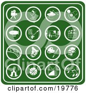 Clipart Illustration Of A Collection Of Green Hobby Icons Including A Video Camera Microphone Magic Hat Billiards Ball Blimp Guitar Museum Clapboard Film Strip Theater Mask Paint Palette Carnival Tent Basketball Tv And Music Notes