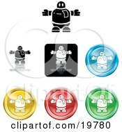 Collection Of Different Colored Robot Icon Buttons