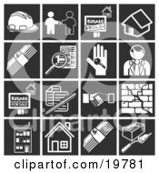 Clipart Illustration Of A Collection Of White Home Construction Icons Over A Black Background Including A Hardhat Real Estate Agent And Client Sold House Home Cash Classified Ads House Key Realtor House For Sale Documents Handshake Crack In A by AtStockIllustration