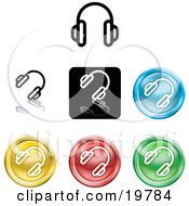 Clipart Illustration Of A Collection Of Different Colored Headphones Icon Buttons by AtStockIllustration