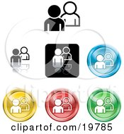 Clipart Illustration Of A Collection Of Different Colored People Icon Buttons by AtStockIllustration