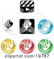 Clipart Illustration Of A Collection Of Different Colored Clapper Icon Buttons