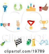 Clipart Illustration Of A Collection Of Colorful Champion Laurel Winner Thumbs Up Handshake Peace Gesture Medal Trophy Champagne Flag Number 1 And Toasting Wine Glasses Sports Icons On A White Background