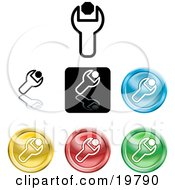 Clipart Illustration Of A Collection Of Different Colored Spanner Icon Buttons