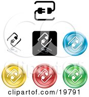 Clipart Illustration Of A Collection Of Different Colored Connection Icon Buttons