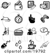 Clipart Illustration Of A Collection Of Black And White Globe Wallet Calendar Letter Mouse Stopwatch Hand Controller Film Strip Radio People Question Computer Mouse Water Drops Java And Button Icons On A White Background by AtStockIllustration