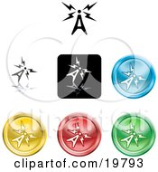 Clipart Illustration Of A Collection Of Different Colored Antenna Sending Signals Buttons
