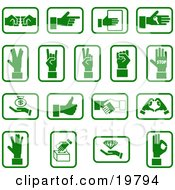 Clipart Illustration Of A Collection Of Green Hand Icons With Sign Language Money And Diamonds Over A White Background