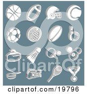 Clipart Illustration Of A Collection Of White Athletic Basketball Football Soccer Golf Rugby Bowling Badmitten Ping Pong Billiards Hockey Tennis And Boxing Icons Over A Blue Background by AtStockIllustration