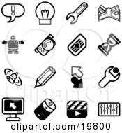 Clipart Illustration Of A Collection Of Black And White Exclamation Point Lightbulb Wrench Wallet Robot Camera Hourglass Bell Pencil Arrows Computer Battery Clapboard And Equalizer Icons On A White Background by AtStockIllustration
